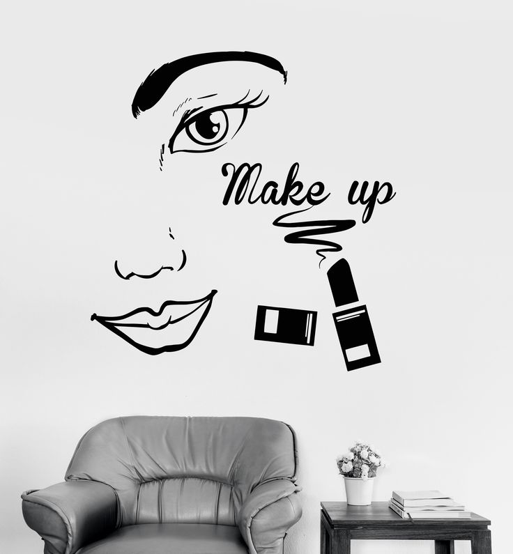 Vinyl Wall Decal Make Up Beauty Salon Face Woman Girl Room Stickers (ig4057)