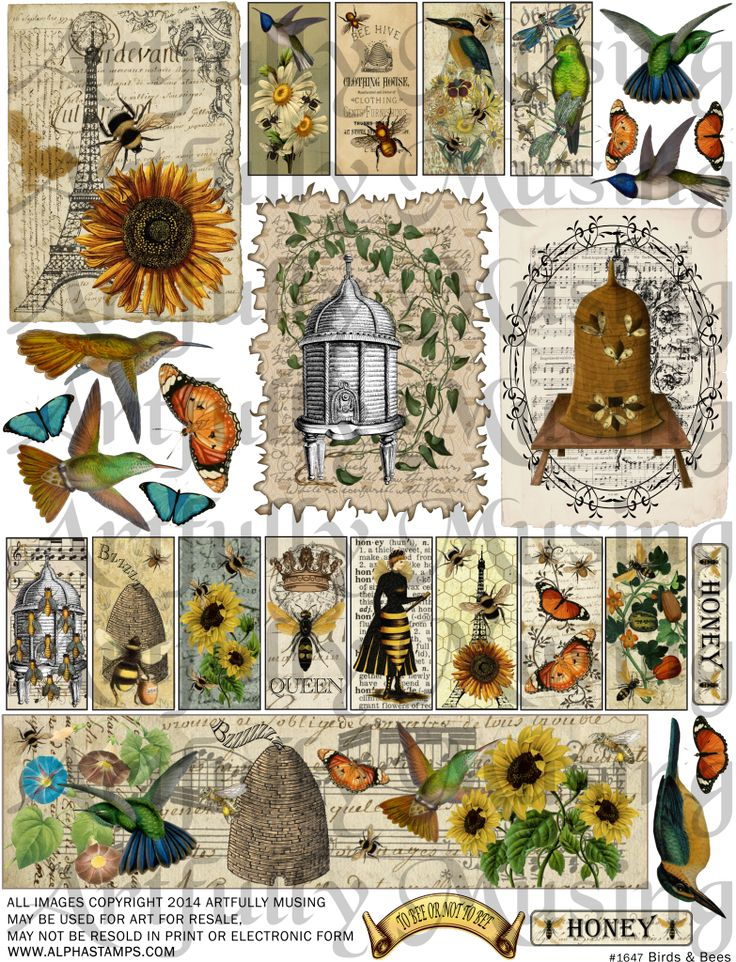 Artfully Musing: It's All About BEEs – Domino Books, Accordion Book Box & Coasters – Tutorials & New Collage Sheets & Giveaway