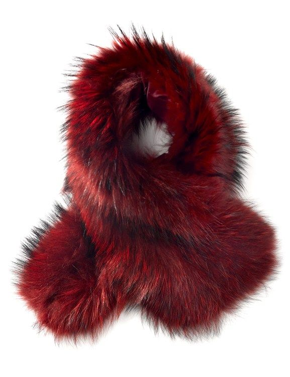 Charlotte Simone Berry Red fur scarf cuff, $395