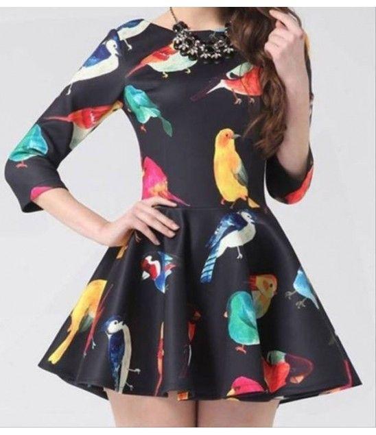 Μαύρο Φόρεμα με σχέδιο από πανέμορφα πολύχρωμα πουλιά. Σε μέγεθος One Size.