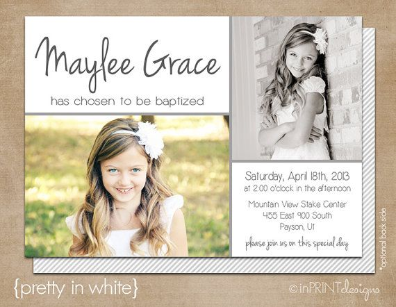 """LDS Baptism Photo Invitation (Digital or Printed)- """"Pretty in White"""""""
