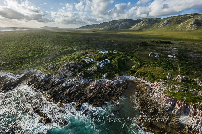 Aerial view of an Isolated farmstead along the Cape Agulhas coastline,Travel Photography