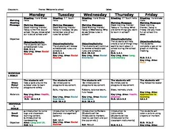 This is a lesson plan for the first week of school for a preschool classroom. It is ideal for teachers using the Creative Curriculum. The learning standards are listed. It is editable for convenience. Features:A full week of morning meeting messages, small groups, books, gross motor activities and learning material ideas for centers.
