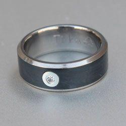 Black titanium ring with white diamond