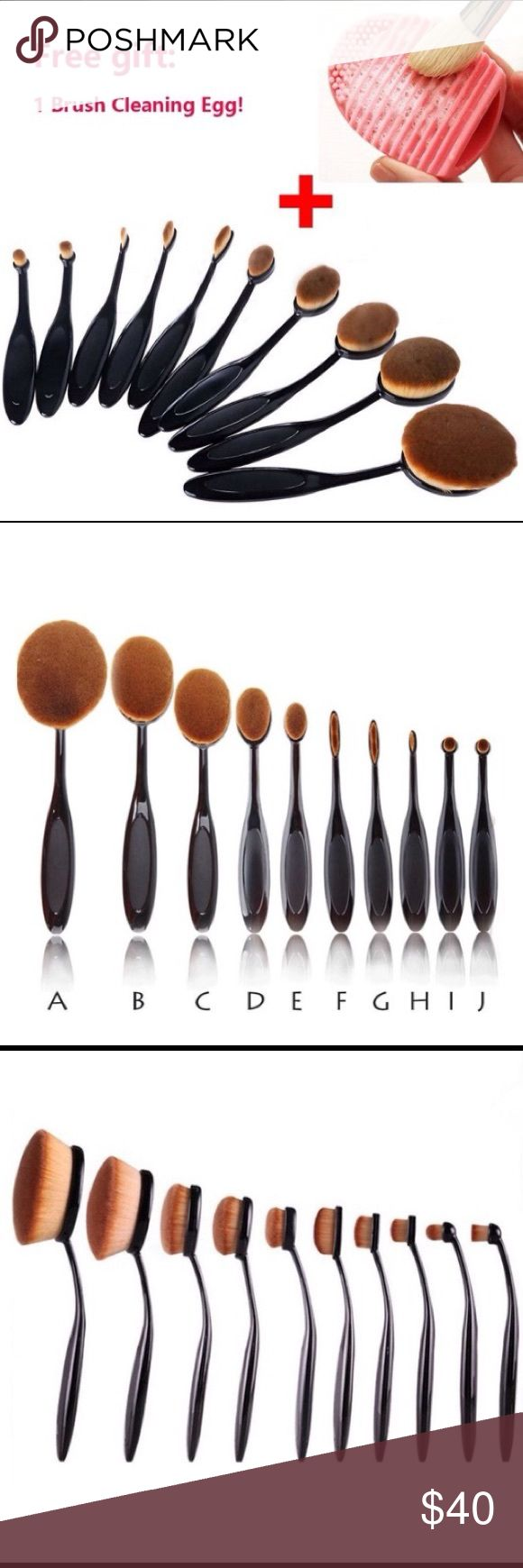 🆕 10pc soft bristle makeup brush set Toothbrush style. Matte black easy grip flexible handles. Includes a free silicone brush cleaner. Accessories