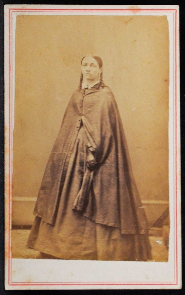 CDV Photo Woman Long Cape Hoop Skirt 2C Orange Civil War Stamp Taylor Chicago IL