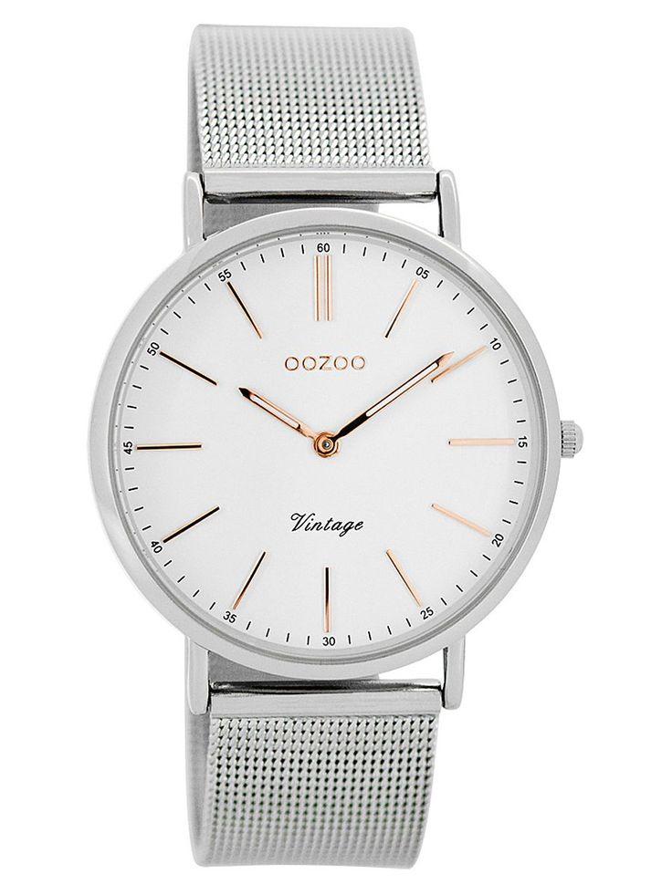 Oozoo C7396 Vintage Damen-Armbanduhr Weiß/Silber 9879012505732