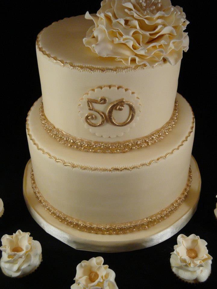 Cream And Gold 50th Wedding Anniversary Cake Wedding