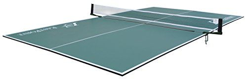 EastPoint Sports Foldable Table Tennis Conversion Top  Official Tournament sized table tennis top 9 feet long by 5 feet wide  12-mm thick playfield  Equal in overall size to any standalone table  4-piece hinged design folds down for easy storage and transport  Set includes: 1 foldable table tennis conversion top, 1 net and post system, and 8 foam pads