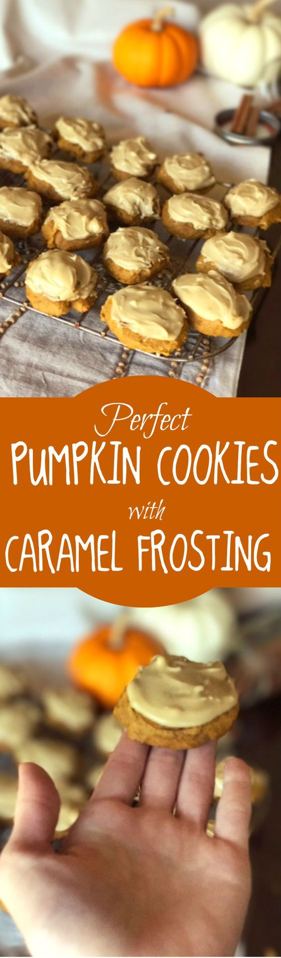 Best recipe for easy pumpkin cookies with caramel frosting! Easy fall recipe! Perfect soft, moist pumpkin cookies with sweet frosting. Best pumpkin cookies ever.