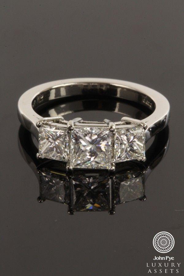platinum trilogy #ring comprising of three #princess cut #diamonds