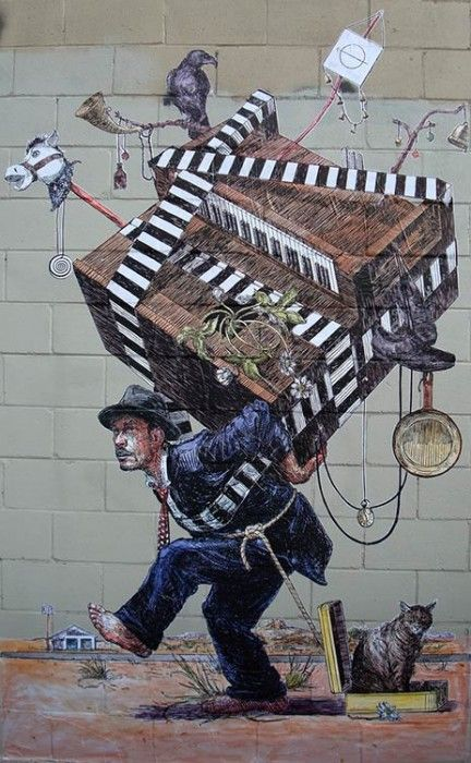 Piano Mover: Straßenkunst in New York, von Elbow,-examples-of-graffiti-street-art-north-america/  Stichworte: #Piano #Art