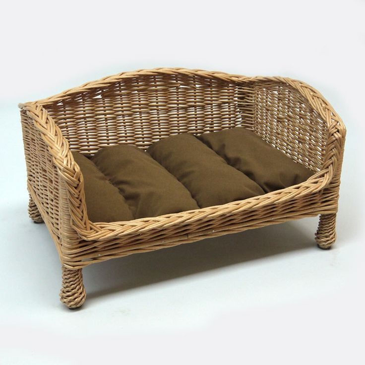 Willow Dog Bed Settee with a Dark Cushion