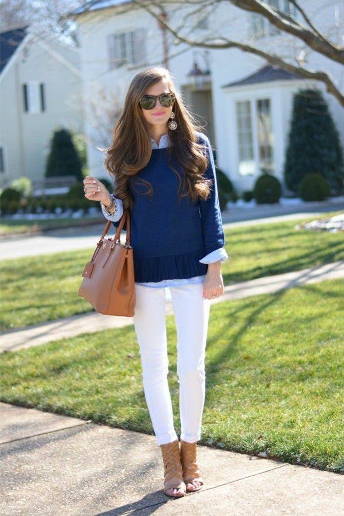 17 meilleures id es propos de pantalons blancs sur pinterest noir jeans blancs et tenues - Pantalon marron homme avec quoi ...