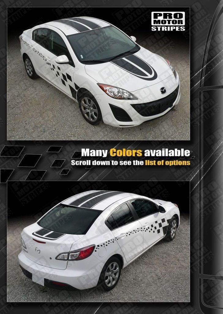Mazda 3 2009-2013 Coupe Dual Stripes and Side Checkers Decals