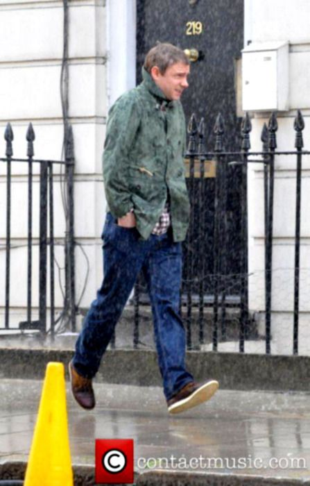 Look at Martin Freeman's feet. They're not on the ground. He's just ignoring gravity. This is why he's awesome.