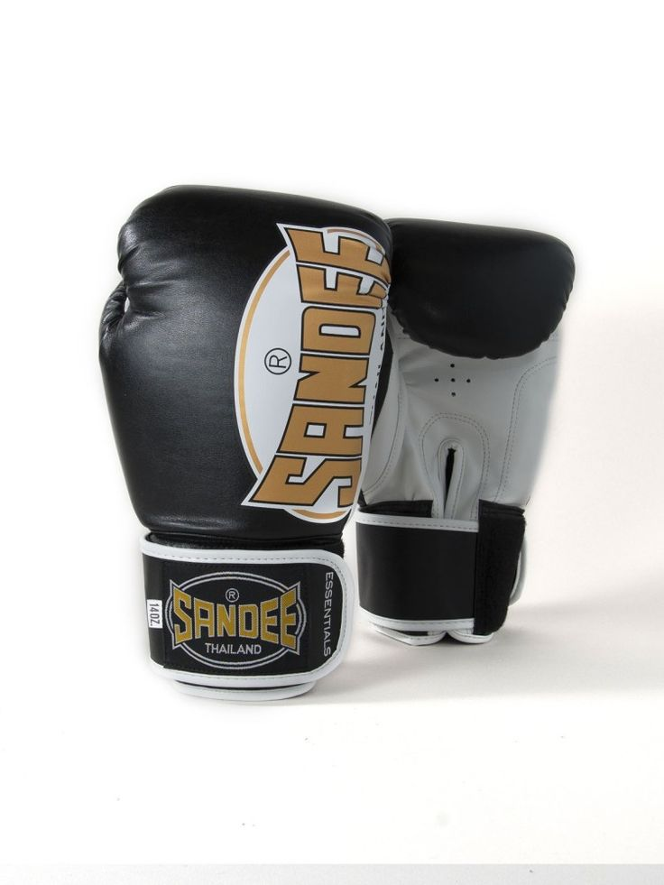 Sandee Essentials Velcro Synthetic Leather Boxing Gloves - Black Gold & Whi