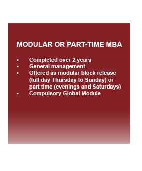 GIBS Modular or Part time MBA outline
