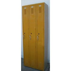 Yellow used lockers for sale! They are in good condition and have been thoroughly inspected and repaired to ensure they are 100% functional. Perfect for garages, mudrooms or any other #DIY project you can think of doing with a used locker!