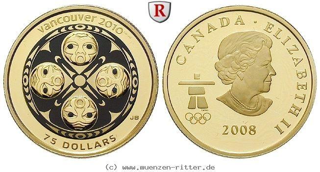 RITTER Kanada, 75 Dollars 2008, Masken Indianerstämme, Vancouver 2010, Gold, PP #coins