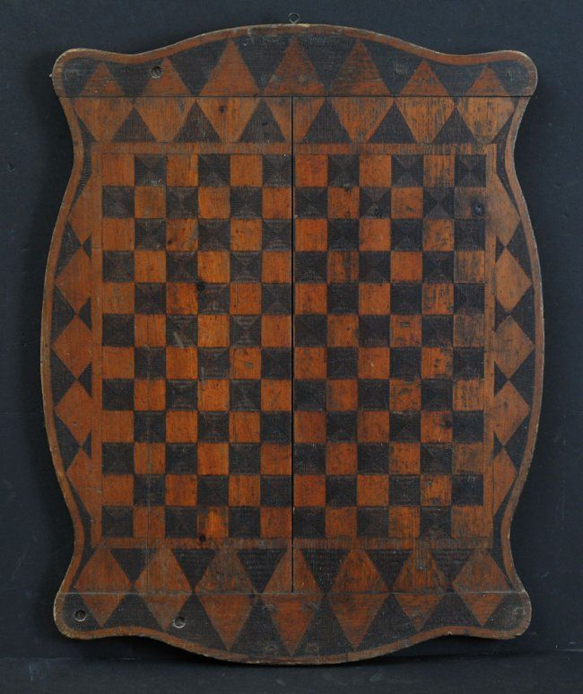 Circa 1900 Gameboard ~ patterned with burnishing tool reverse decorated with courting scene
