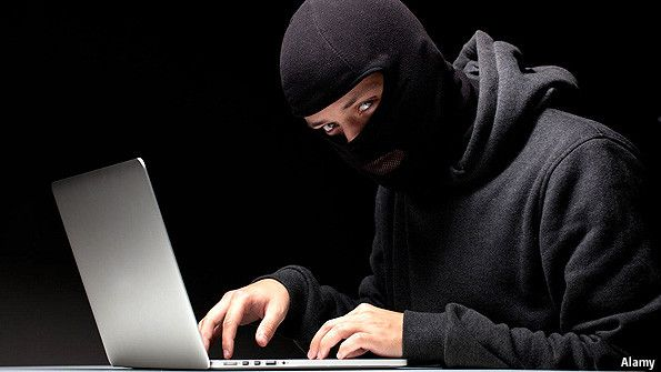 Hacker in a hoodie, wearing a balaclava. From The Economist.