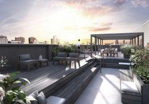 Украшения: - Просторный Манхэттен Квартиры на крыше дизайн с садом на открытом воздухе и отдыха среднего Дизайн версия