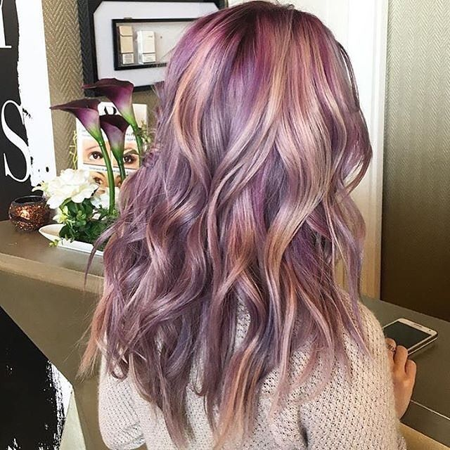 COLOR. Pretty mauve lilac and rose hair #pastelunicornhair