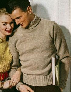 Mens Turtleneck sweater knit pattern from Sweaters of Nylon or Wool, American Thread Company, Star Sweater Book No. 92, in 1952.