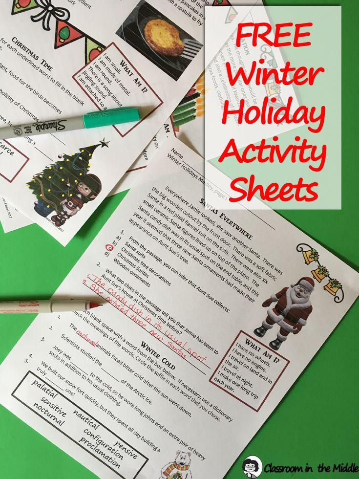 This free resource includes three activity sheets for the winter holiday season. The activities include short reading passages with comprehension questions, vocabulary practice with suffixes and antonyms, and a few riddles. The content is about Christmas, Hanukkah, Kwanzaa, and winter. Ready to print and use for some quick and fun language arts practice with a holiday theme