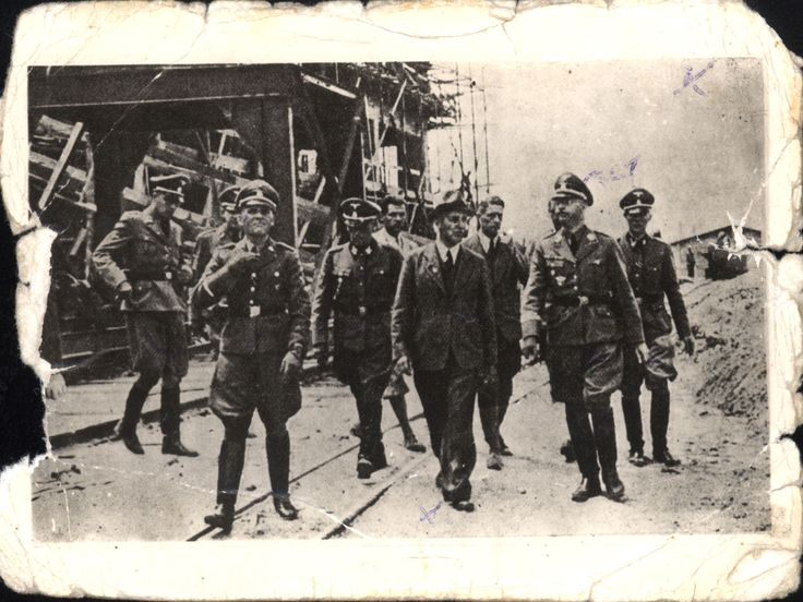 Auschwitz, Poland, The official visit of Himmler at the IG Farben factory. Digital Collections - Yad Vashem