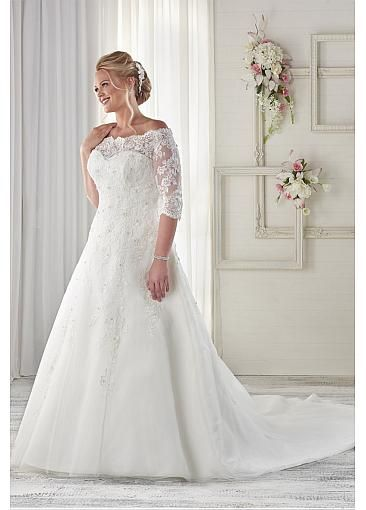 Graceful Lace Off-the-shoulder Plus Size Wedding Dresses