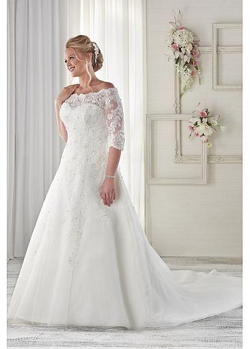 Graceful Lace Off-the-shoulder Plus Size Wedding Dresses | ting ...