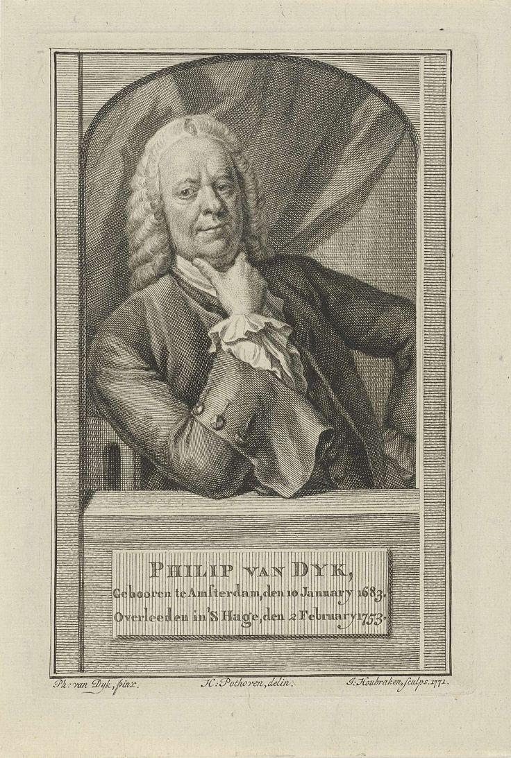 Jacob Houbraken   Portret van Philip van Dijk, Jacob Houbraken, 1771   Portret ten halven lijve van Philip van Dijk in een architectonisch venster, met zijn rechterelleboog leunend op een plint. Op de plint zijn naam en gegevens in drie regels in het Nederlands.