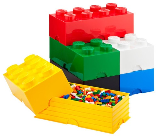 These storage bricks actually stack like real Legos...genius. Now I just need something for Barbie clothes...