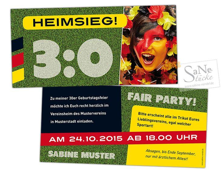 Sportliche Einladungskarte zum Geburtstag für alle Fußball-Fans zur Fair-Party.