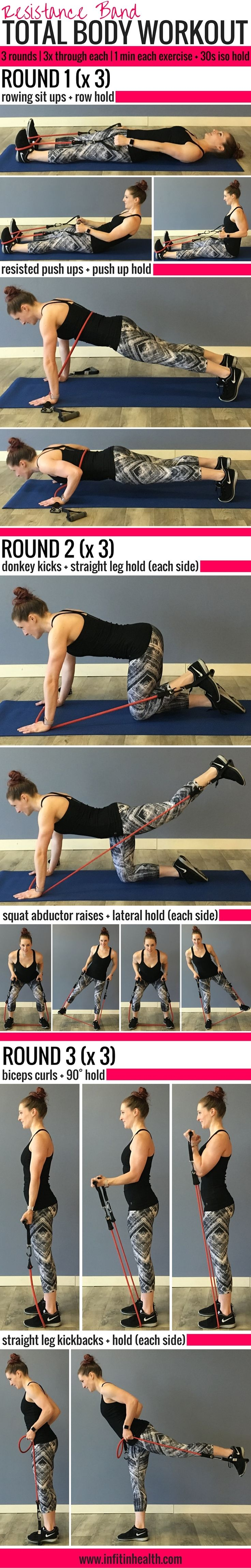 Target your whole body with just a band!  The isometric holds are great! Resistance Band Total Body Workout w/ Isometric Holds