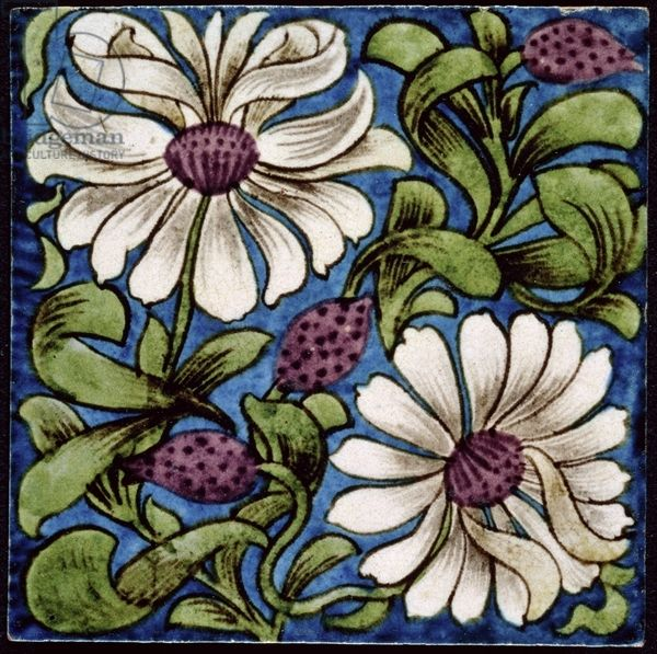 Double white flower earthenware with painted transfer for Azulejos william de morgan