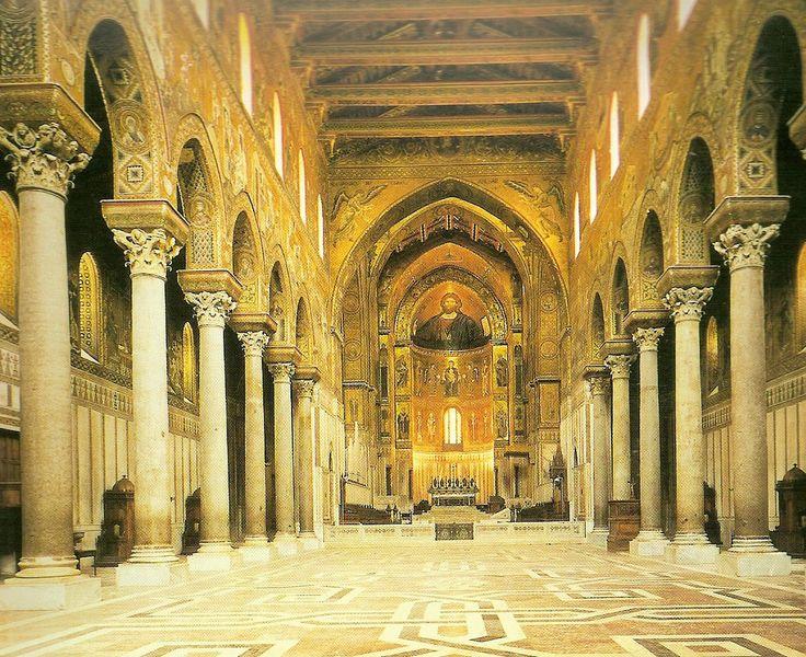 Interior de la Catedral de Monreale, Sicilia. S. XII.- Románico en Sicília -14
