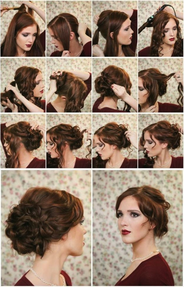 Chignon con capelli mossi