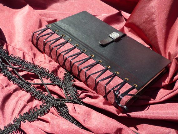 Corset Leather Journal black and burgundy by BooksForAllTime, $150.00