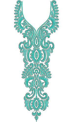 Arabian Jalabiya Single Thread Color Embroidery Design