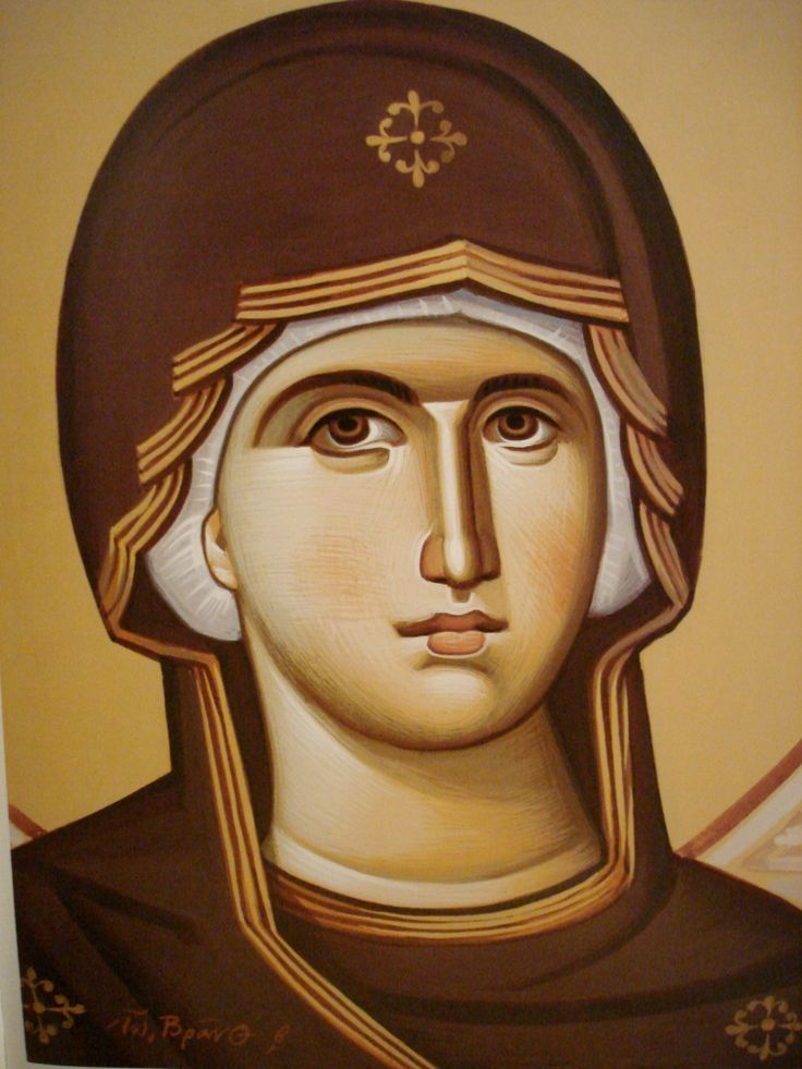 Face of Theotokos.  After Panselinos.  Stage 3.