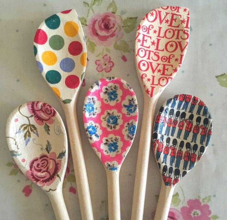 Decoupage Wooden Spoons Gift Baker, Vintage, Emma Bridgewater, Cath Kidston Fan | eBay