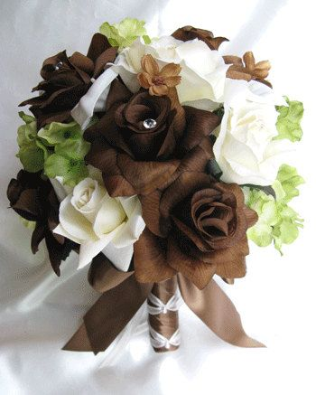 Free Shipping Wedding bouquet  Silk Bridal Flowers BROWN CREAM GREEN Calla lily 17 pc package Centerpieces boutonnieres RosesandDreams
