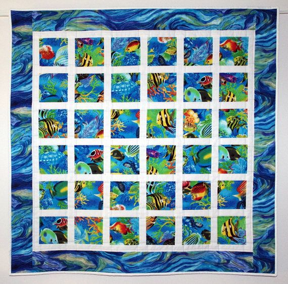 Quilted Tropical Wall Hanging, Salt Water Fish, Ocean Quilt, Lap Quilt, Baby, Crib, Nursery Quilt