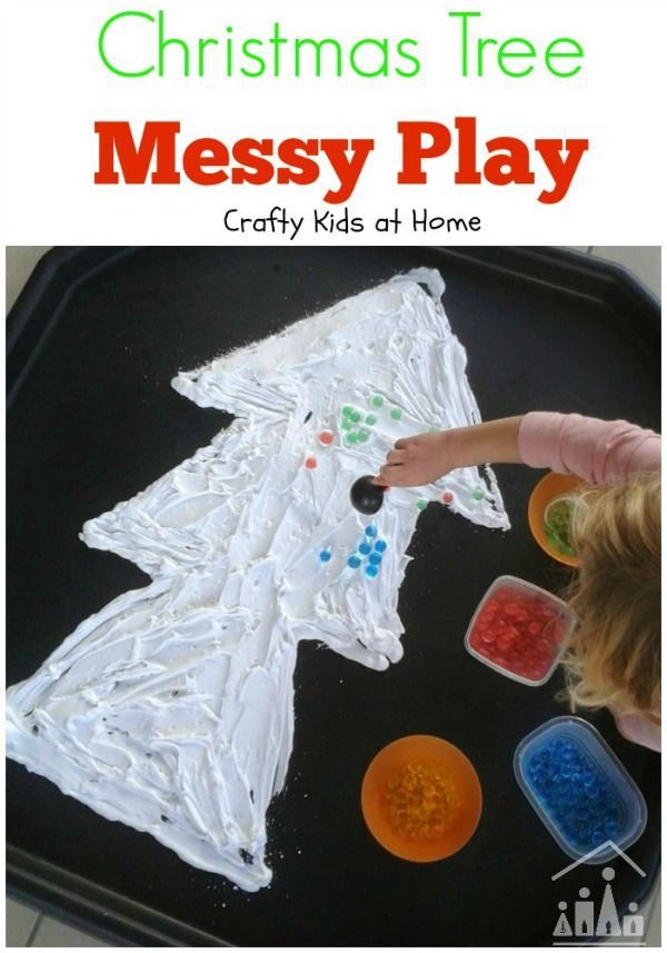 Christmas Tree Messy Play Activity for Kids