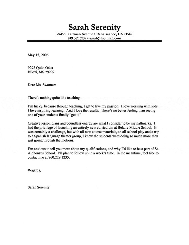 cover letter example of a teacher with a passion for teaching - Covering Letter Writing