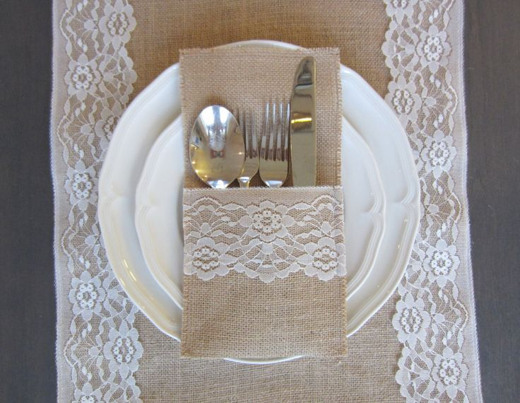 Burlap silverware cutlery holders - Set of 10 - burlap and white lace table setting for weddings by willowbloomwreaths on Etsy https://www.etsy.com/listing/243654597/burlap-silverware-cutlery-holders-set-of