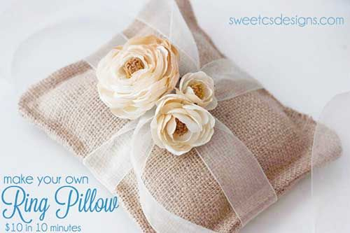 Como hacer una almohada de arpillera para anillos de boda